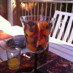 Breakfast on the patio...fresh fruit from the valley!