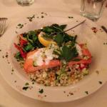 Salmon with grilled vegetables, quinoa and cous cous mix. Delicious