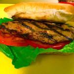 jerk Chicken Sandwich on white coco bread