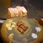 Juicy, perfectly marbled kobe beef. The chef also explained how to have it with the selection of