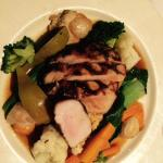 Pork loin with scallops and pear (main course)