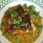 wonderful sea bass on curry lentils