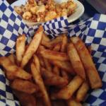 Beer battered fries and weird, bad curds