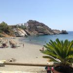 beach view from beach coffee/bar to Agios Pavlos Hotel
