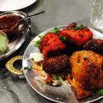Banquet feast for 2 people : Butter Chicken, Rogan Josh, lamb or chicken Korma and Chana Masala.