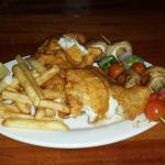 Cod Dinner with Fries and Veggie Kabobs