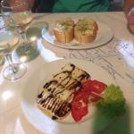 Starters of garlic bread and halloumi ... Complimentary dessert of fresh, tasty fruit