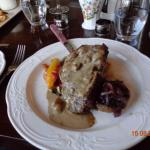 Main course sirloin  steak with mushroom sauce