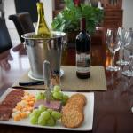 Hors d'oeuvres with their selection of white and red wines