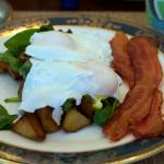 Delicious made to perfection Potato Hash w/Baby Bella mushrooms, fresh spinach and poached eggs