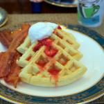 Scrumptious Belgian Waffles with Balsamic Strawberry compote, whipped cream & Vermont Maple Syru