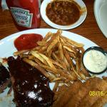 Cowboy beans, ribs, Charlies Catfish and French Fries