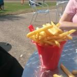 Chips served in bucket and spade