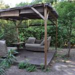private seating area in garden