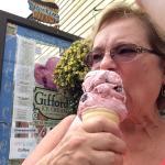 Enjoying the cherry jubilee cone.