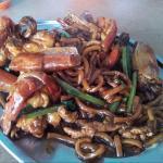 Hokkien mee fried with fresh water prawns