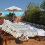 Sunbeds on roof terrace
