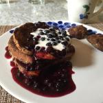 Cinamon French Toast with Maine Blueberry Syrup and Homemade Sausage