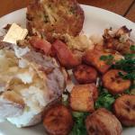 Stuffed shrimp, crab cakes, plantains, baked potato