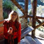 Lee at Cradle Mountain enjoying the Vegan Chocolate birthday Cake - I am 57 ! Vegan keeps you yo