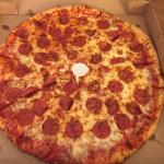 Large pepperoni and cheese pizza.