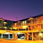 Motel frontage at dusk