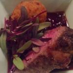 Lamb Loin with Lingonberries, crispy Almond Risotto and micro greens