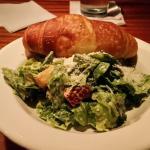 Cesar salad and a fresh croissant. Omg good