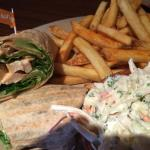 Chicken wrap with coleslaw and fries