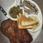 Our pork steaks and fish and rib plates...yum yum