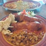 Chiles rellenos with chicken and red, huevos rancheros with green