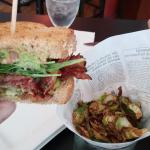 BLT and fried Brussels sprouts - YUM!