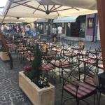The empty terrasse where waitress kicks out customers.