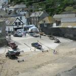 Port Isaac Beach as seen from parking lot of Old School House Hotel