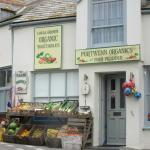 Port Isaac shop next to Old School Hotel, transformed into a vegetable stand for Doc Martin