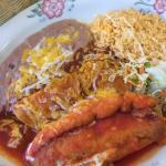 Chicken enchilada and chile relleno