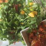 Mesclun salad with mango and creole shrimp