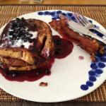 French Toast with Blueberry Sauce for breakfast.