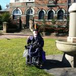 """Bruce outside the cafe at Moss Vale's famous """"penis fountain"""""""