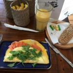 Wonderful omelette with smoked salmon and cream cheese. Best porridge ever with nuts and cinnamo