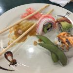 Sushi. Hot and sour soup with dumpling added
