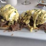 Sunday Brunch! Steak and Eggs Benedict, Side order of Biscuit w/ Sausage Gravy and Mimosa :)