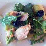 Salmon/blueberry/arugula/jalapeno jam flatbread