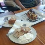 Merigue, waffle and cake with friends