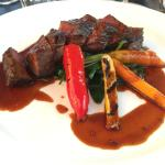 "Beef ""Buvette"" with seasonal vegetables and sauce of mustard"
