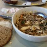 Soba noodle bowl with chicken and wheat bread. Very delicious and a healthy meal too! Very clean