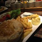 Village Inn Restaurant Pie, french fries, and sauces