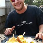 My boyfriend with hs Razor Clam Sandwich