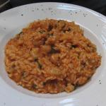 red risotto with gamberi