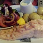 Poached Salmon and Prawns with White Wine Sauce, New Potatoes and Salad